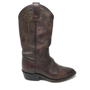 Frye Sz 5.5 Stitched Brown Leather Cowboy Boots